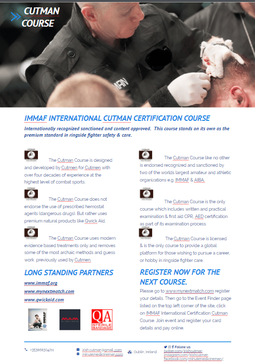 IMMAF Cutman Course