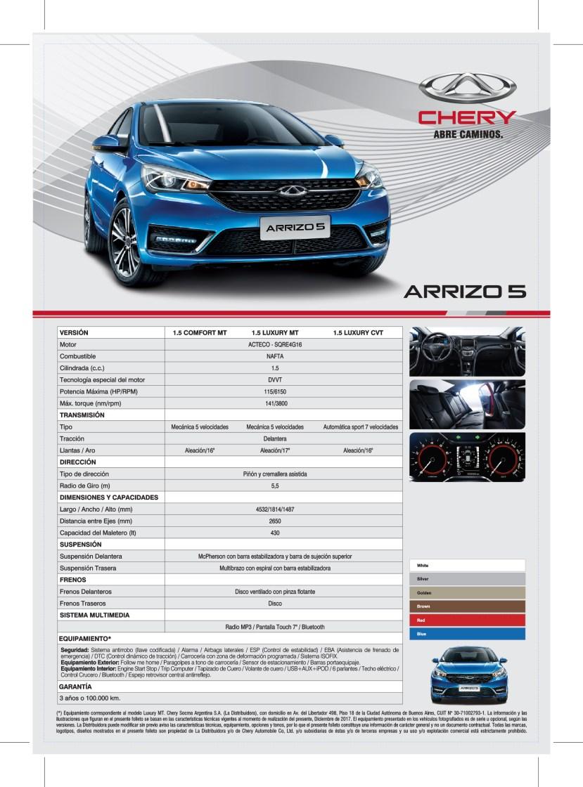 Ficha Tecnica - Chery Arrizo5