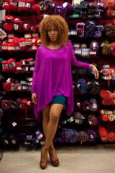 fuchsia shirt, mini skirt