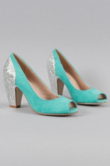 Gilda Glitter Heels in Teal