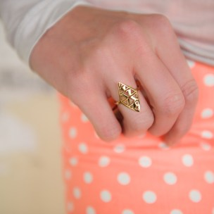 Gold Tone Triangles Ring