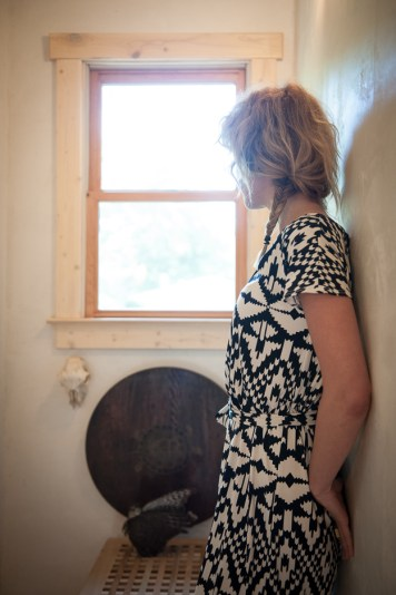 Black and White Shirred Leota Dress