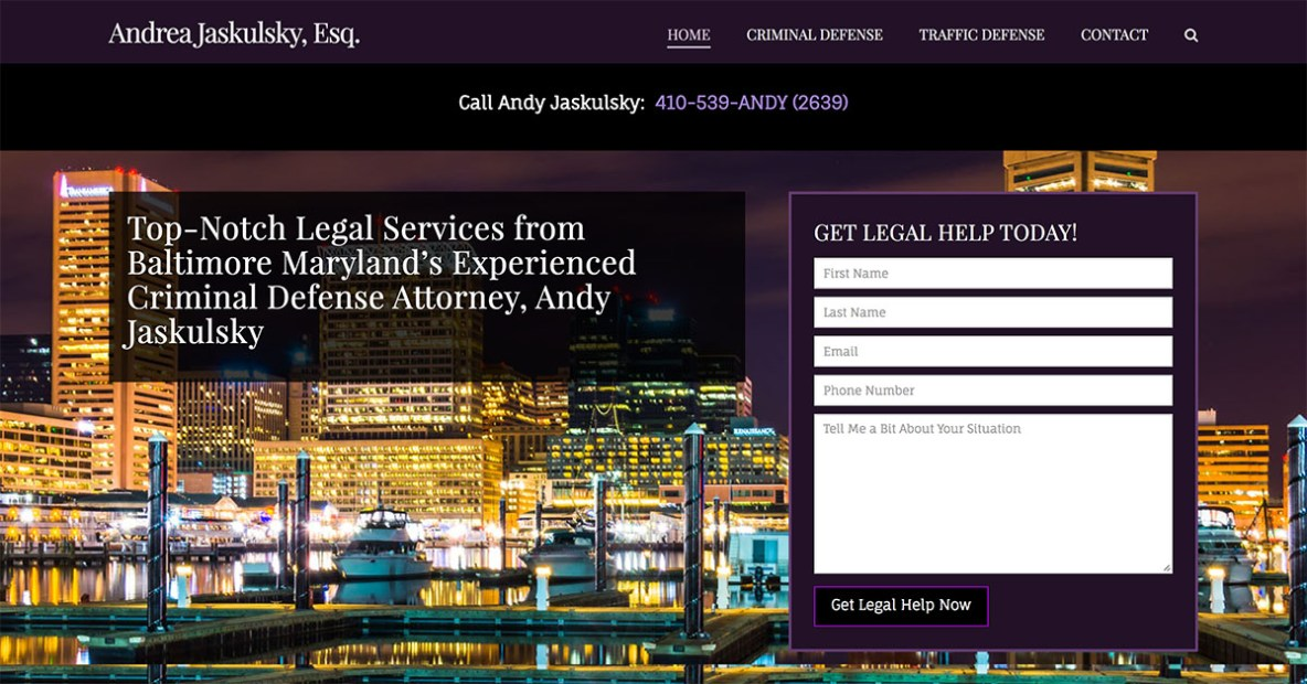 law firm website design for andy jaskulsky by minyona.com