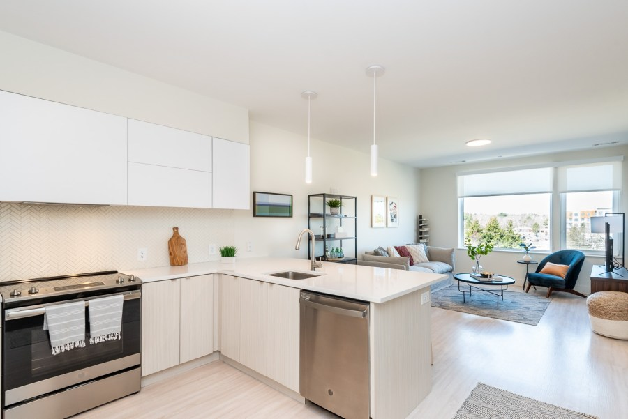 one bedroom kitchen with dishwasher stove oven and large common area windows