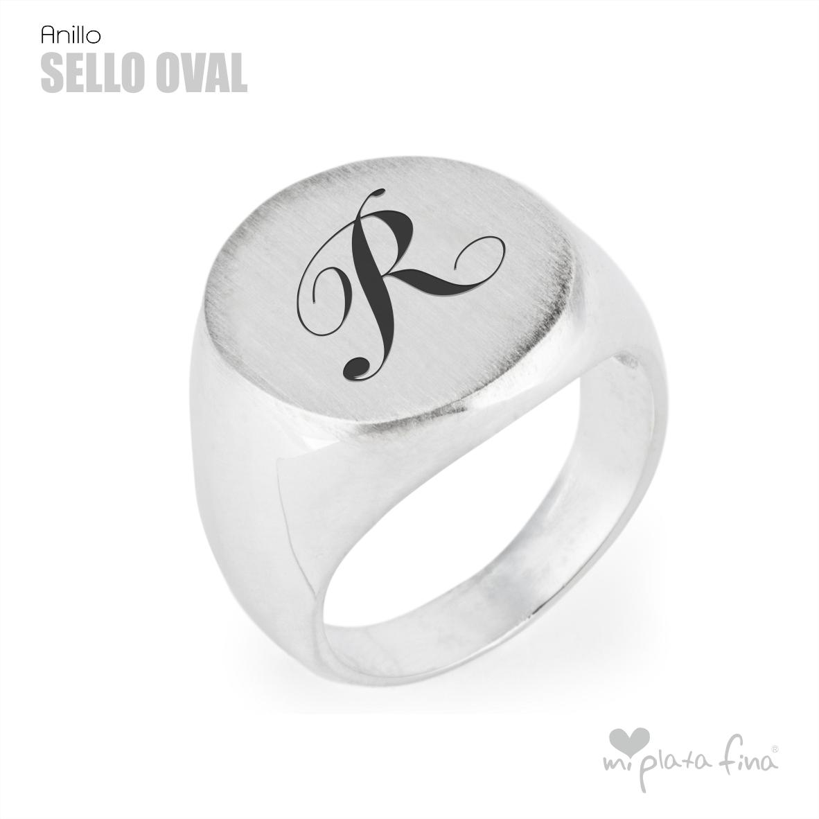 anillo sello oval inicial r