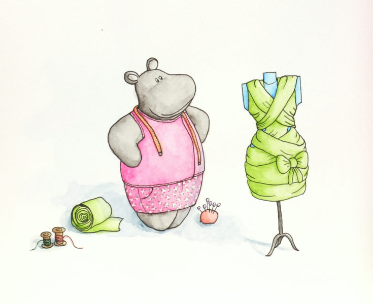 Colorful hippo illustration of Macy the Mippo looking proudly at her mummy dress