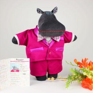 Maximillian the Mippo animal doll in pink tuxedo