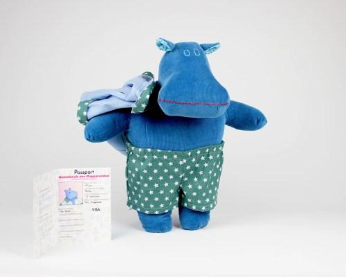 Monty the Mippo hippo soft doll biker