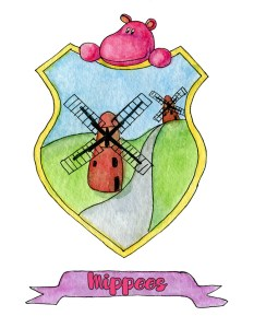 Watercolor illustration coat of arms for the imaginary world of Mippoland