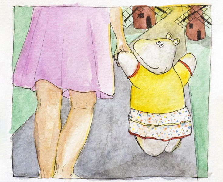 Watercolor illustration of a girl taken by the hand by a Mippo hippo