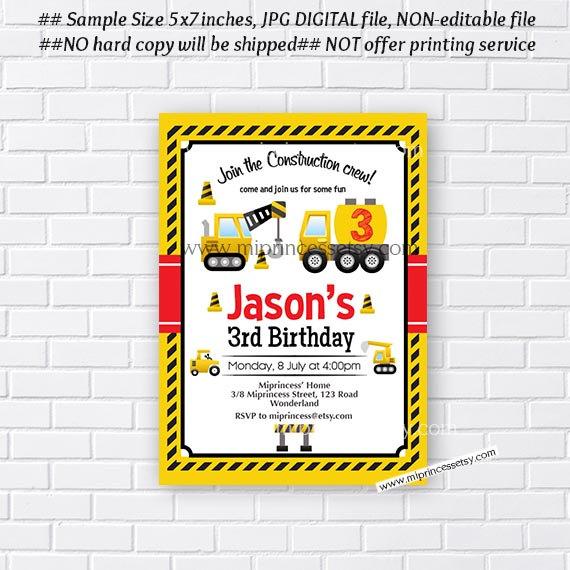 construction birthday invitation boy invites car truck boy birthday invitation kids 1st 2nd 3rd 4th 5th 6th 7th 8th 9th boy