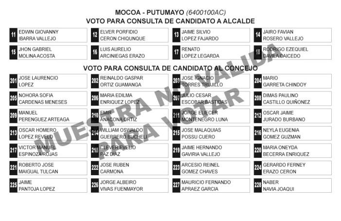 Tarjetones Consulta Alcaldía de Mocoa y Asamblea Putumayo en la consulta del PCC