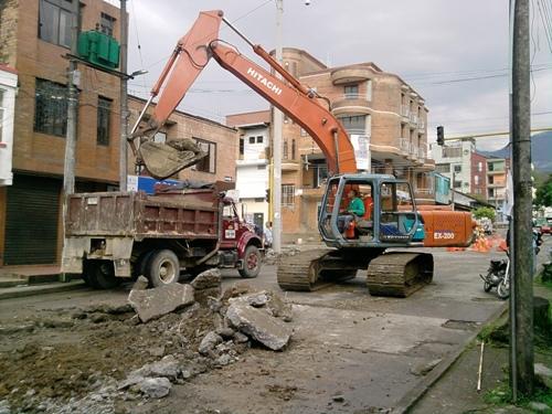 Obras en el centro de Mocoa