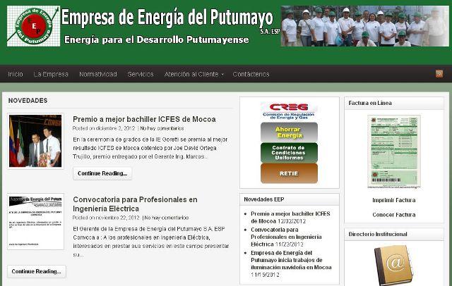 Empresa de Energía del Putumayo presenta su nuevo sitio web