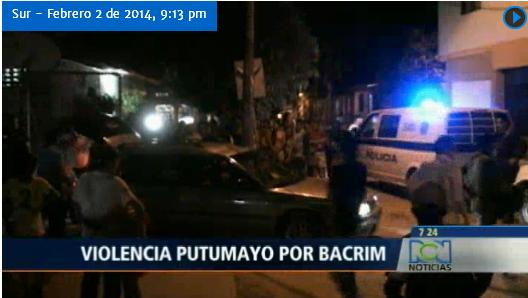 Bacrim se disputan el control del narcotráfico en Putumayo