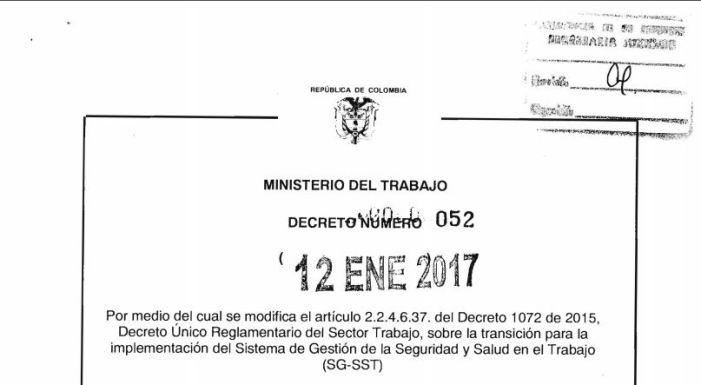 Firmada y publicada modificación al nuevo plazo de implementación SG-SST