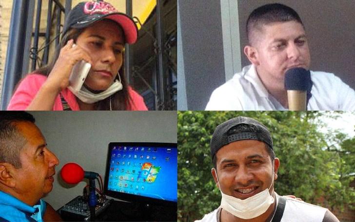 Cuatro periodistas de Mocoa. En la izquierda arriba, Laura Montoya y abajo José Villareal; en la derecha arriba Ruberth Ramírez y abajo Carlos Álvarez