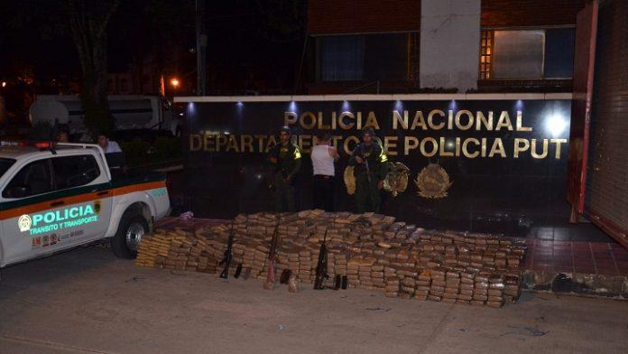 Incautan más de 1.500 kilos de droga y 3 fusiles en carreteras del Putumayo