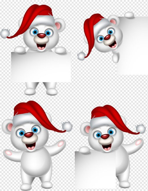 Клипарт - Белые медвежата с плокатами для новогоднего ...