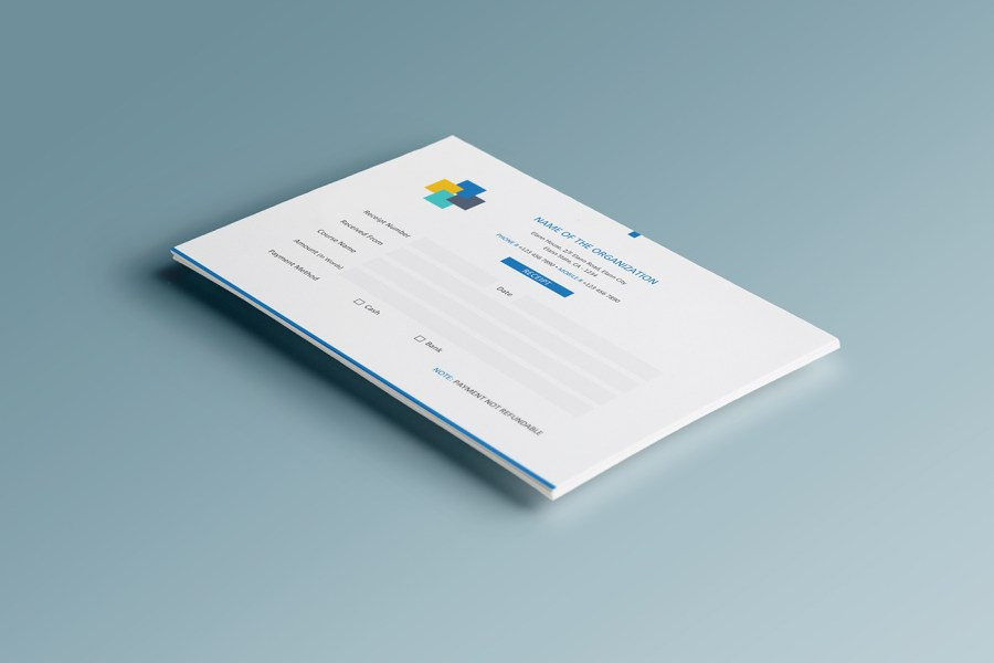 Free Simple A5 Landscape Invoice   Money Receipt Design on Behance