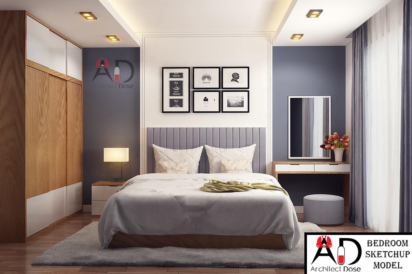 Bedroom Sketchup Model on Behance on Bedroom Models  id=76049