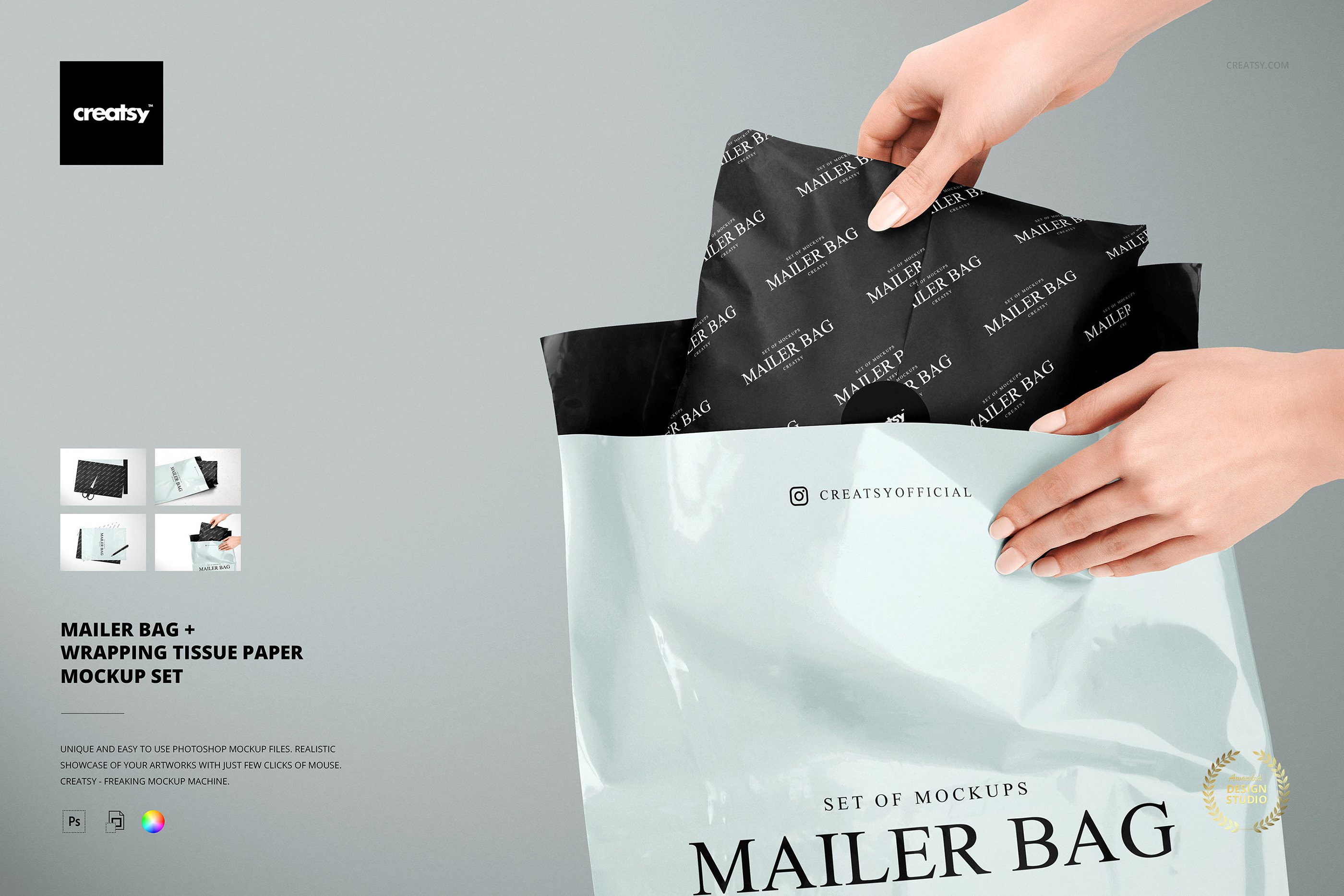 Results for mailing box psd mockup graphicburger packaging. Mailer Bag Wrapping Tissue Paper Mockup Set On Behance