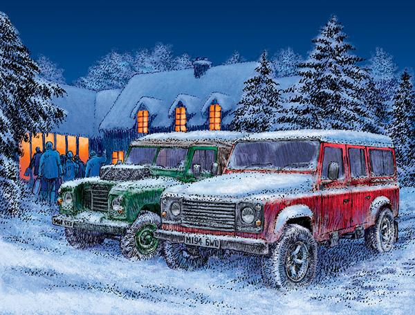 Land Rover Christmas Card Illustration On Behance