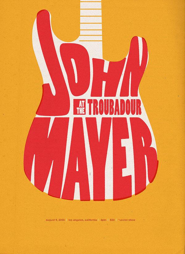 john mayer at the troubadour poster on