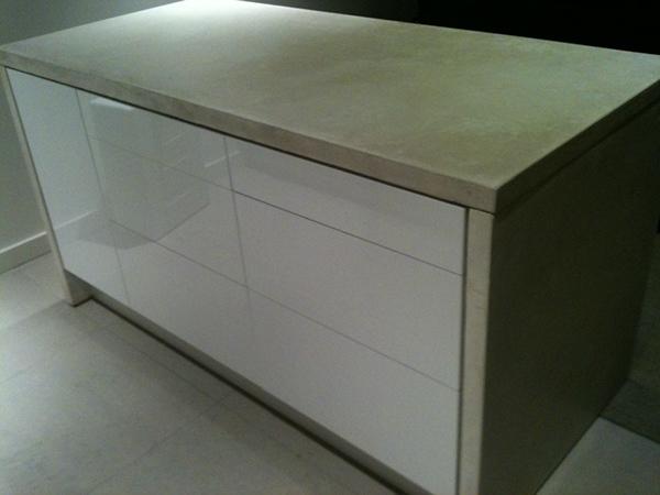 White Concrete Wrapped Ikea Kitchen Island On Behance