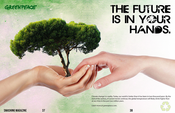 GreenPeace Recycling Magazine Spread Advertisement on Behance