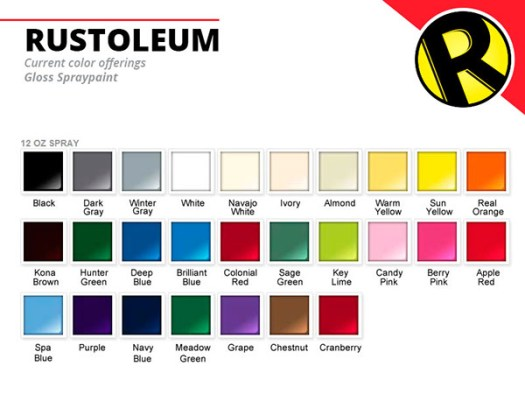 Gloss Spraypaint Color Chart