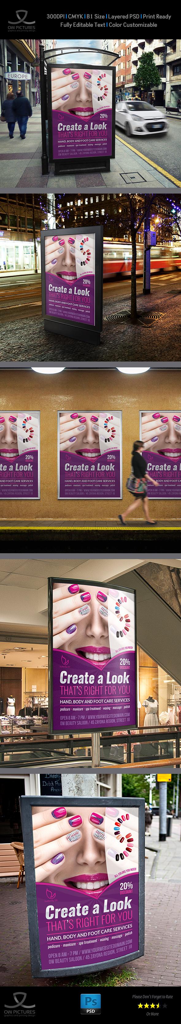 nail salon poster template on behance