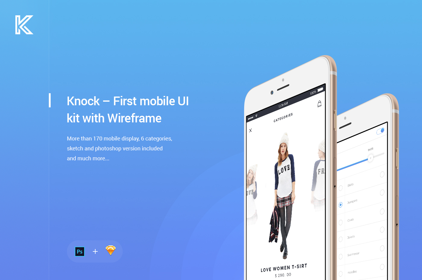 Knock     First mobile UI kit with Wireframe on Behance Download now
