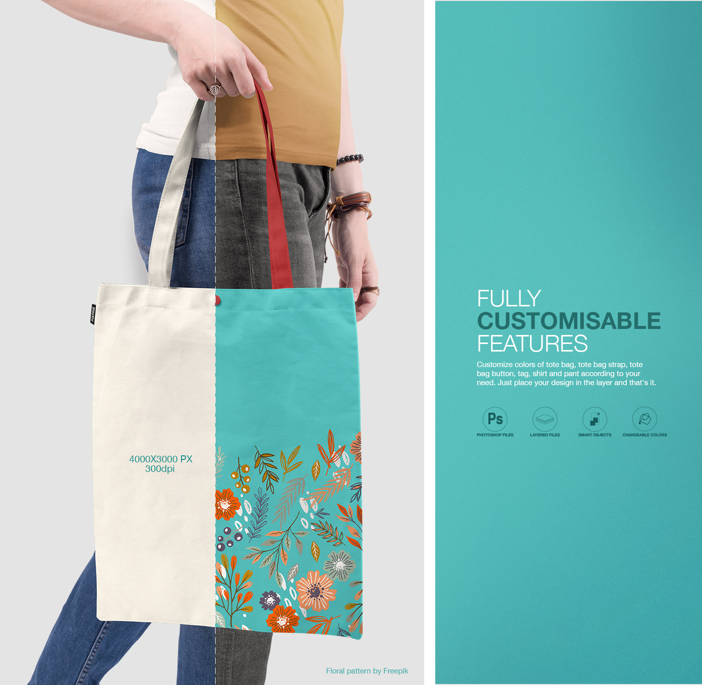 Simple edit with smart layers. Free Tote Bag Psd Mockup On Behance