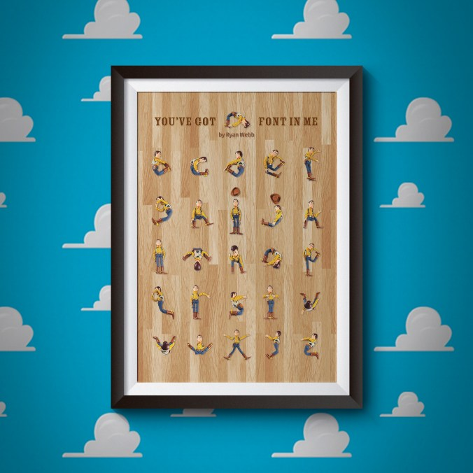 This is a mock-up of my poster design for a lowercase alphabet featuring Woody from Toy Story.