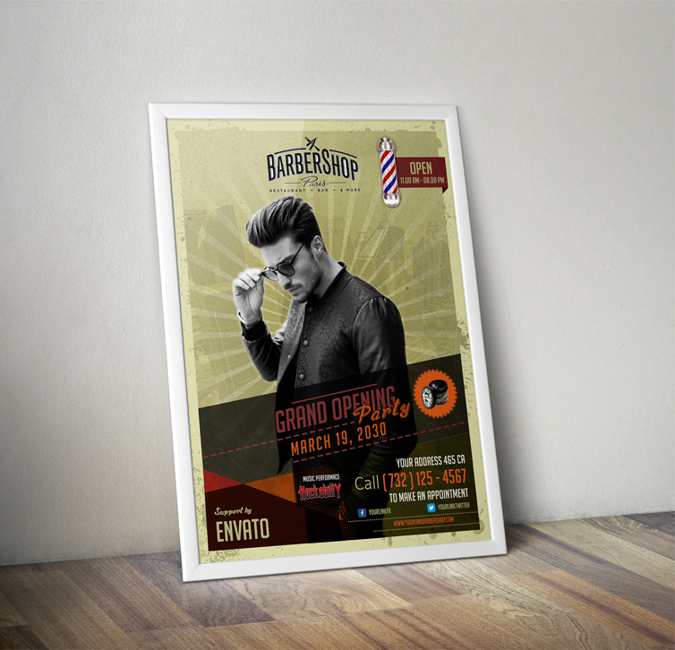 Free   Barbershop Retro Flyer Template on Behance   Free   Barbershop Retro Flyer Template on Behance