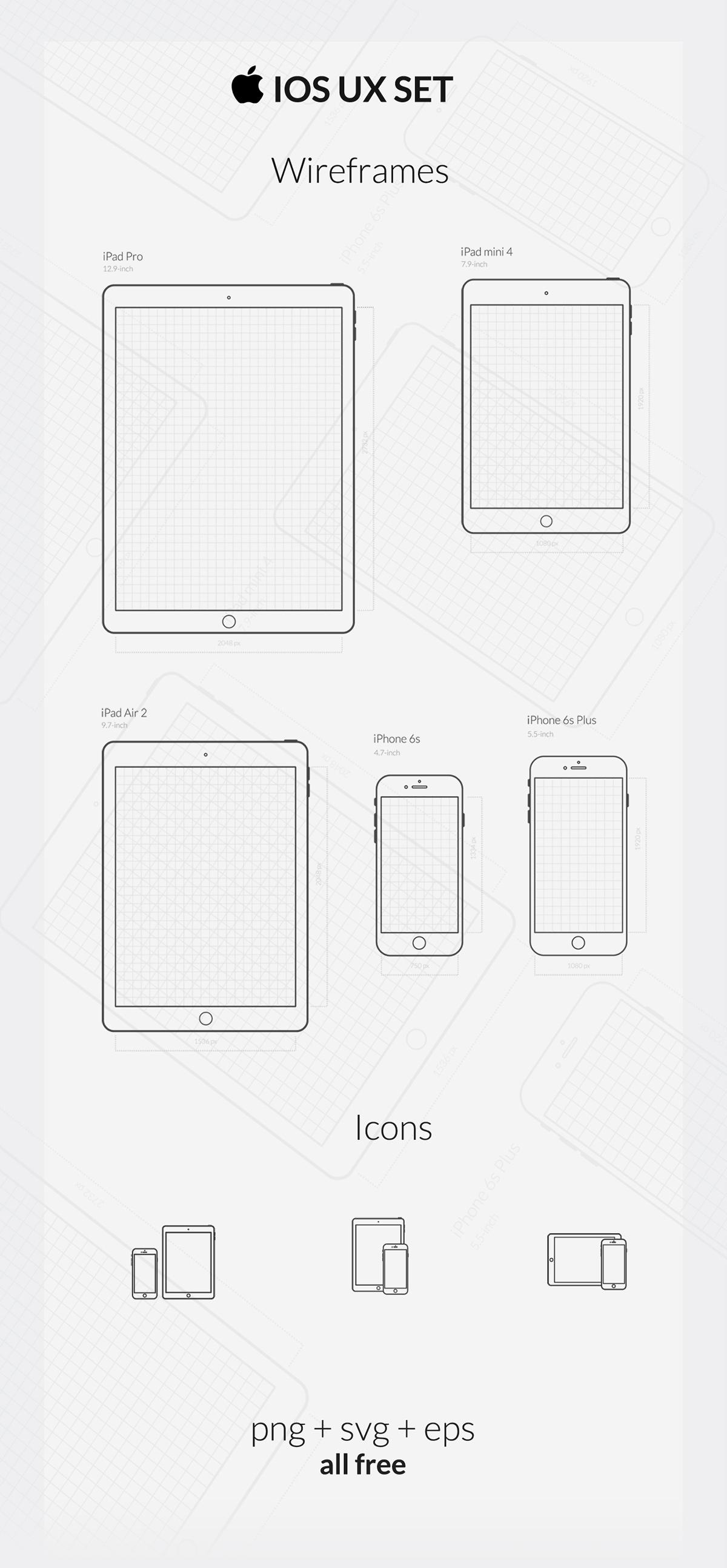 Free Ios Ux Set Wireframes Amp Icons On Behance