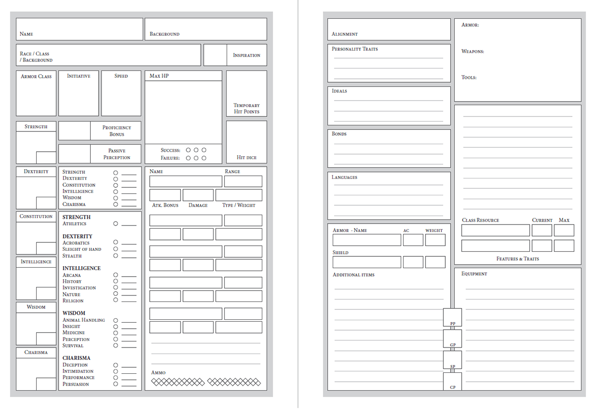 Half Size Dungeons Amp Dragons Character Sheet On Behance