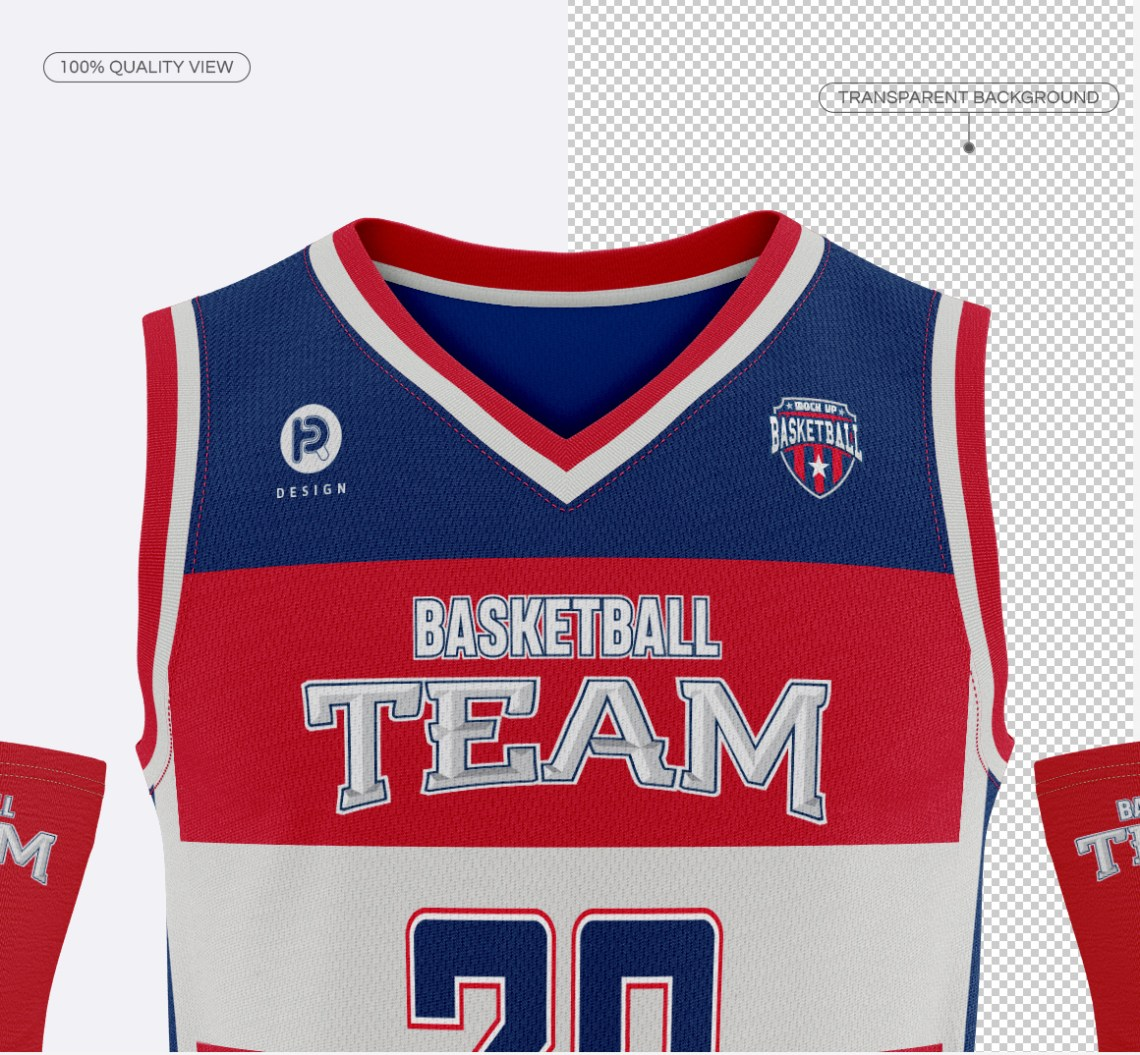 Download Men's Full Basketball Kit V-Neck Jersey Mock-up on Behance