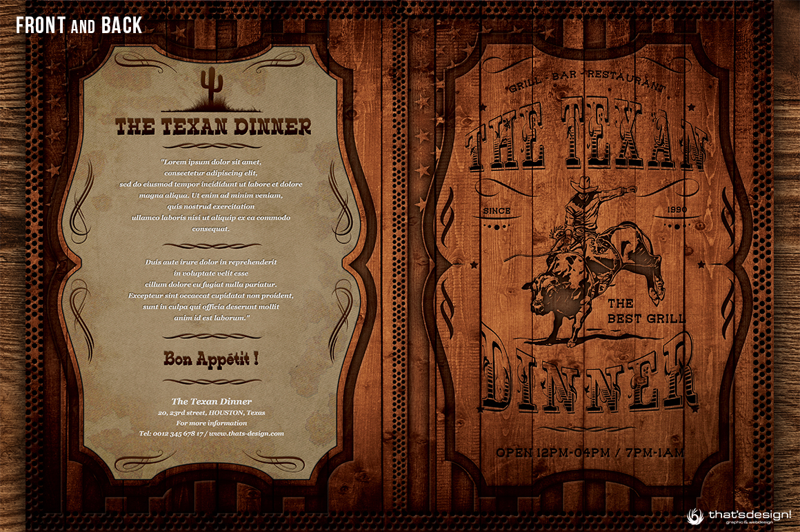 Western Grill Restaurant Menu Card Template On Behance