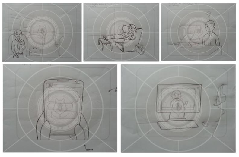 bocetos para ilustrar las viñetas
