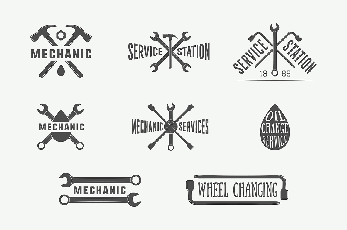 Set Of Vintage Mechanic And Car Service Emblems On Behance