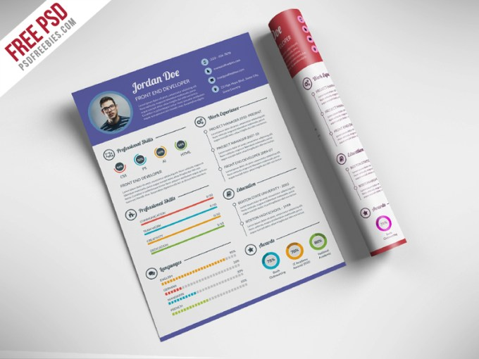 Freebie   Professional Resume CV Template Free PSD on Behance Download Professional Resume CV Template Free PSD  This Resume PSD is the  super clean  modern and professional resume cv template to help you land  that