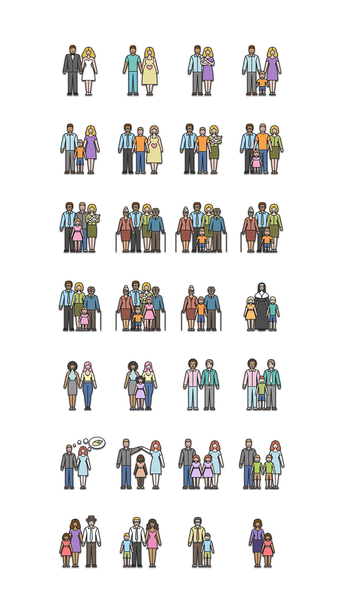 Types Of Families Icon Set On Behance