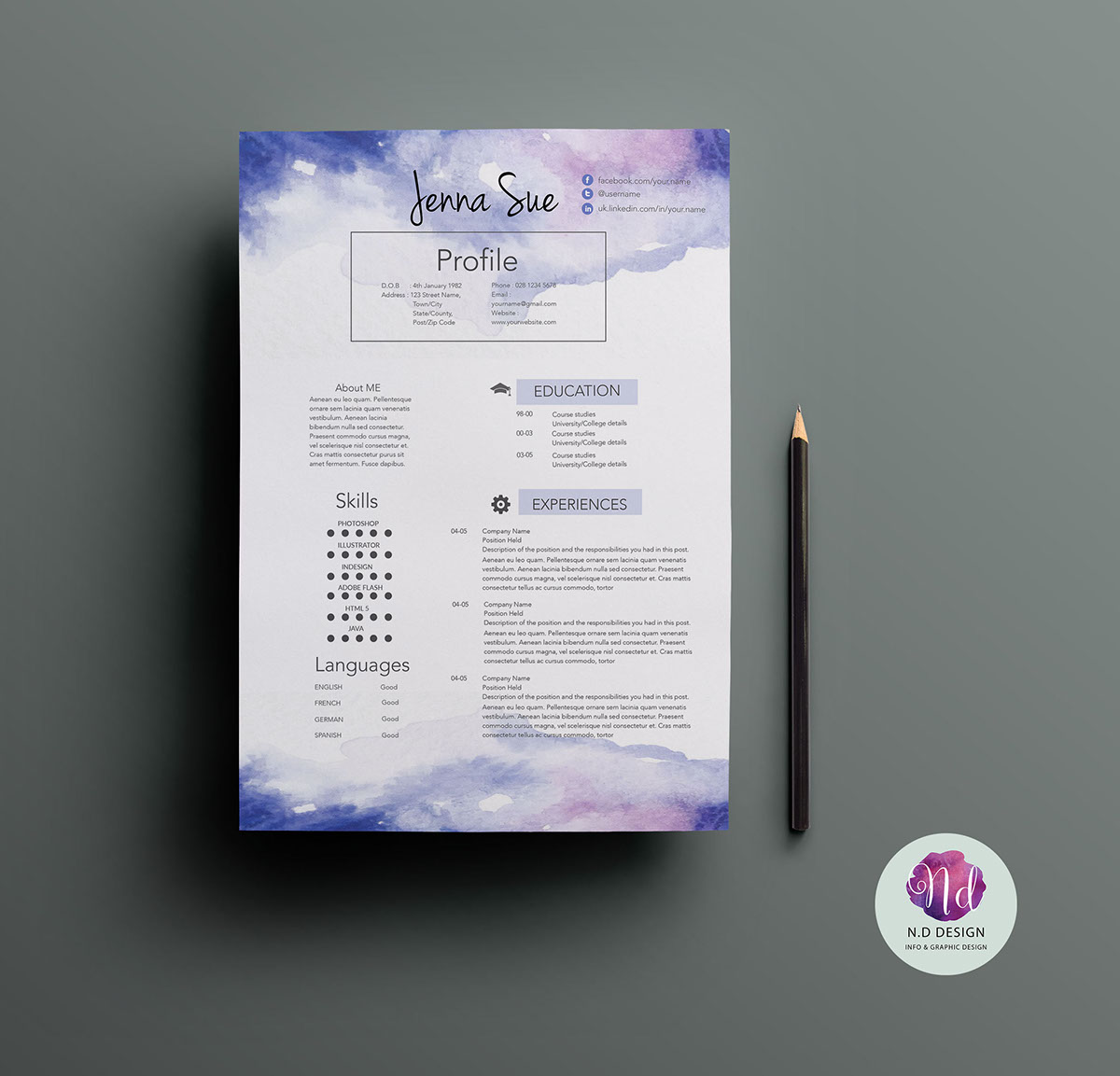 CV template on Behance The package includes a resume sample  cover letter and references example  in a pretty chic theme