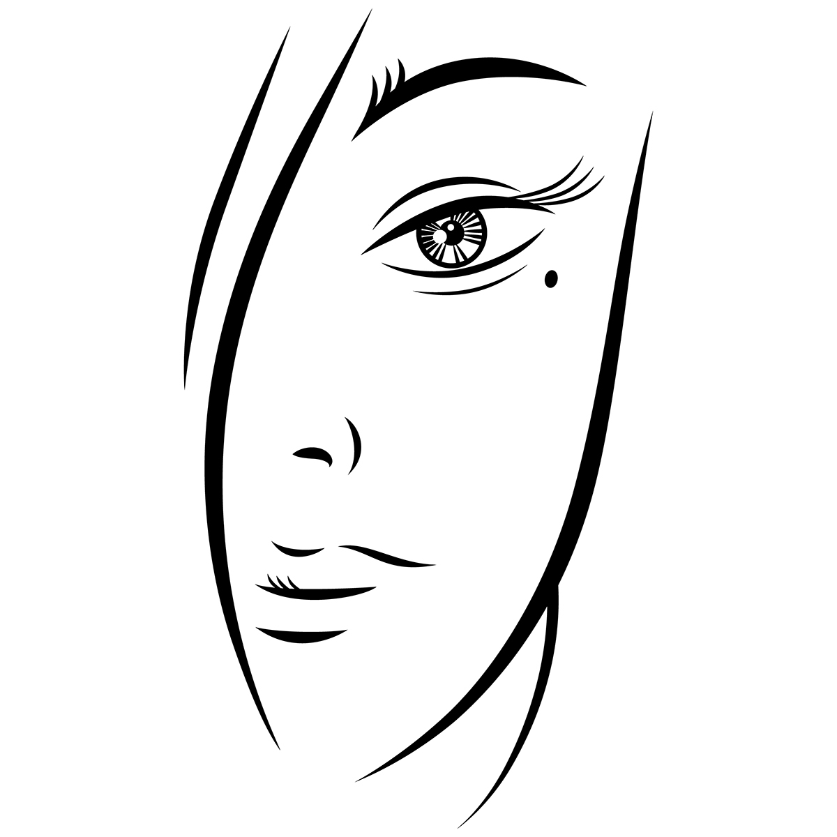 Free Eps Beautiful Young Woman Face Black Ink Sketch On