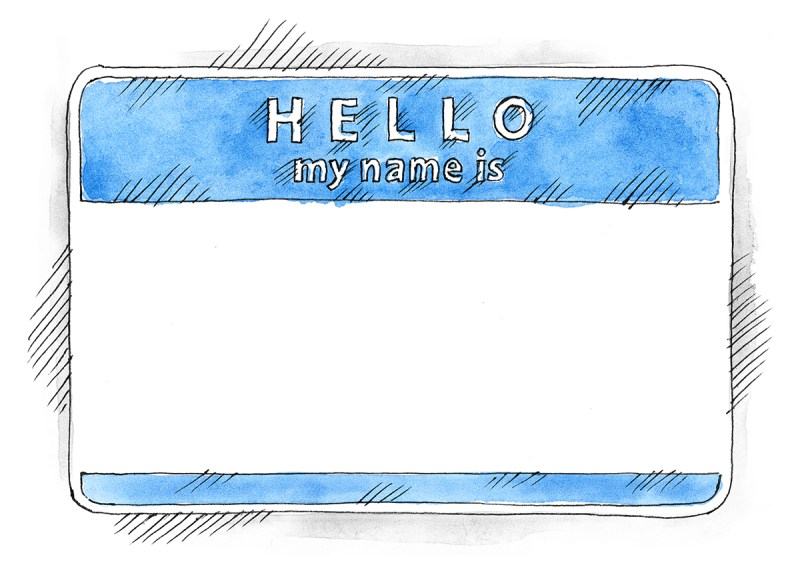 Serene Free Watercolor Blue Name Tag Hello My Name Is On