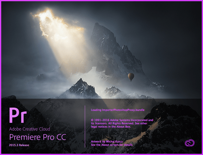Image result for adobe premiere CC launch screen