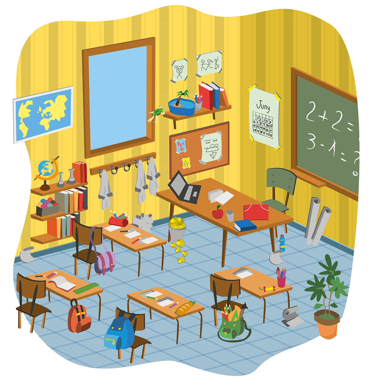 School Classroom Cartoon Vector Pack On Behance