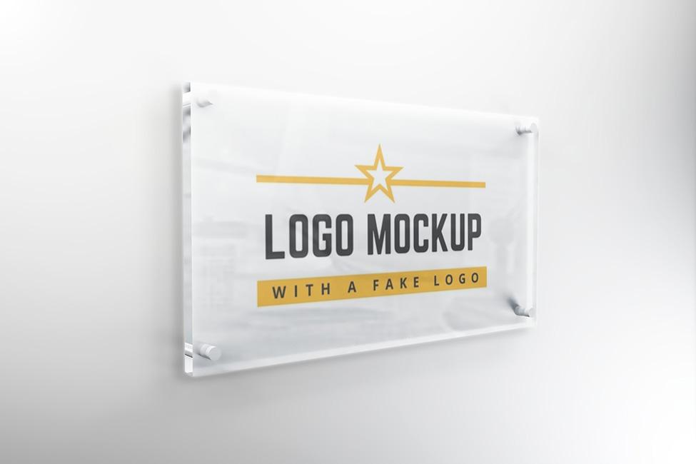 Use a mockup generator website; Company Logo Glass Signage Plate Mockup Psd Template On Behance